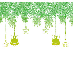 Silhouette garland with bells and stars hanging vector