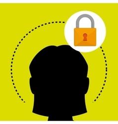 Silhouette padlock safe icon vector