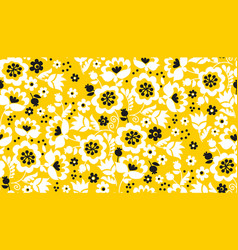 simple yellow flower seamless pattern vector image