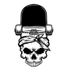 skateboard with human skull design element vector image