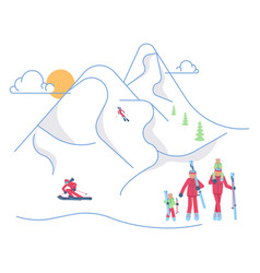 Skiers family on winter mountain landscape vector