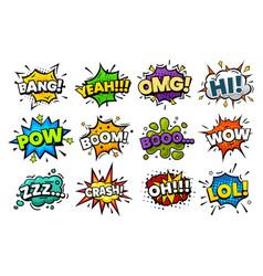 sound blasts comic pop art speech bubbles cartoon vector image