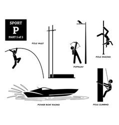 sport games alphabet p icons pictograph pole vault vector image