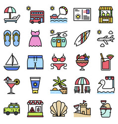 summer vacation related icon set 1 filled style vector image