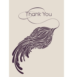 Thank You lettering with calligraphic flower vector image