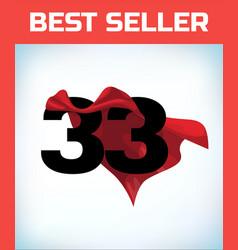Thirty three in red hero cape super cloak super vector