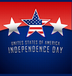 three silver stars 4th of july background vector image