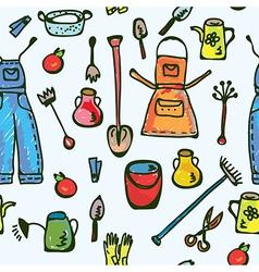 Tools garden seamless pattern vector image