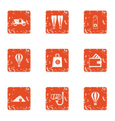 Transition icons set grunge style vector
