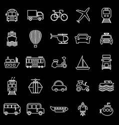 transportation line icons on black background vector image