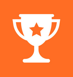 Trophy cup flat icon simple winner symbol gold vector