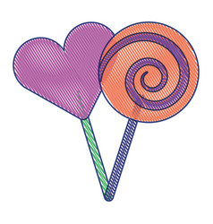 two round lollipop and heart shape candy vector image