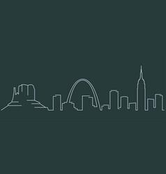 united states simple line skyline and landmark vector image