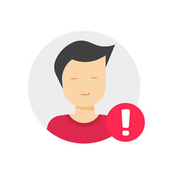 User profile caution or important notice vector