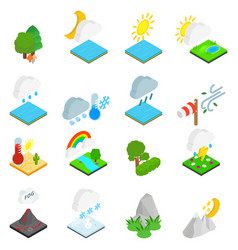 Weather condition icons set isometric style vector