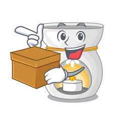 With box therapy aroma lamp and candle character vector