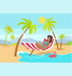 woman works as freelancer in hammock with laptop vector image