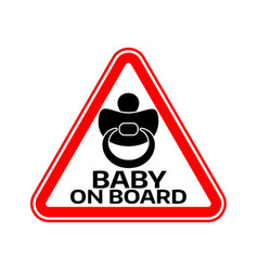 baby on board sign with child nipple silhouette vector image vector image