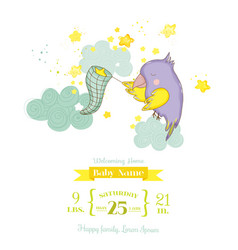 cute parrot catching stars baby shower card vector image vector image