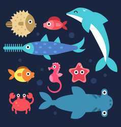 fishes and others underwater animals stylized vector image