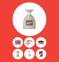 Flat icon food set of beef tart packet beverage vector