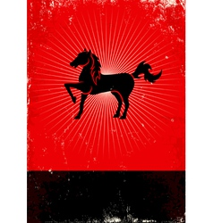 Horse red poster vector image vector image