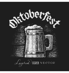 Oktoberfest lettering with wooden beer mug vector image
