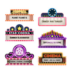 old theater movie neo light signboards in 1930s vector image