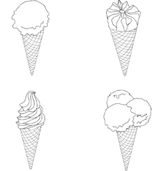 Set of ice cream in a waffles vector image vector image