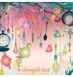 Antique colorful background with tea party theme vector image vector image