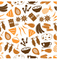 indian food theme set of simple icons seamless vector image vector image