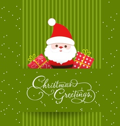 Merry christmas card with santaclaus and gift vector image vector image