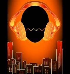 music city in orange mood vector image vector image