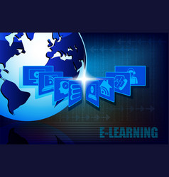 Blue background with the symbols of e-learning vector