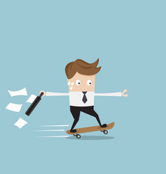 businessman hurry on skateboard vector image vector image