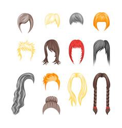 cartoon hairstyles woman set vector image