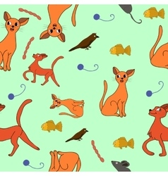 cat kit pattern drawing kids vector image vector image