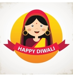 Indian Girl Celebrating Deepavali Happy vector image vector image