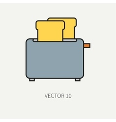 Line flat color kitchenware icons - toaster vector image