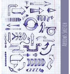 Set of arrow on notepad background vector image vector image