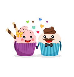 sweet cupcakes holding hands vector image