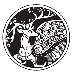a druidic astronomical symbol of a deer vector image vector image