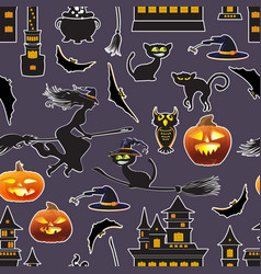 halloween seamless patter vector image