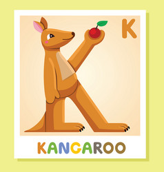 k is for kangaroo letter k kangaroo cute vector image