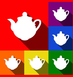 tea maker kitchen sign set of icons with vector image vector image