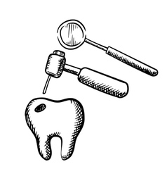 Tooth with decay dental drill and mirror vector image vector image