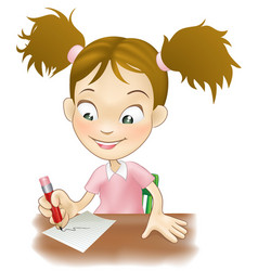 young girl writing at her desk vector image