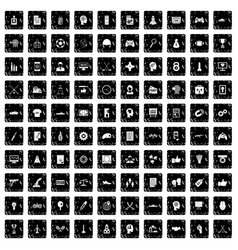 100 strategy icons set grunge style vector