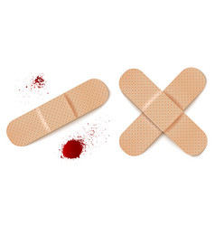 Aid bandages and blood drops vector