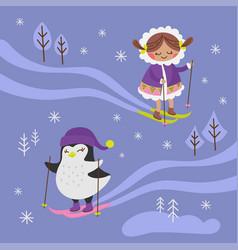 arctic fantasy winter girl penguin vector image